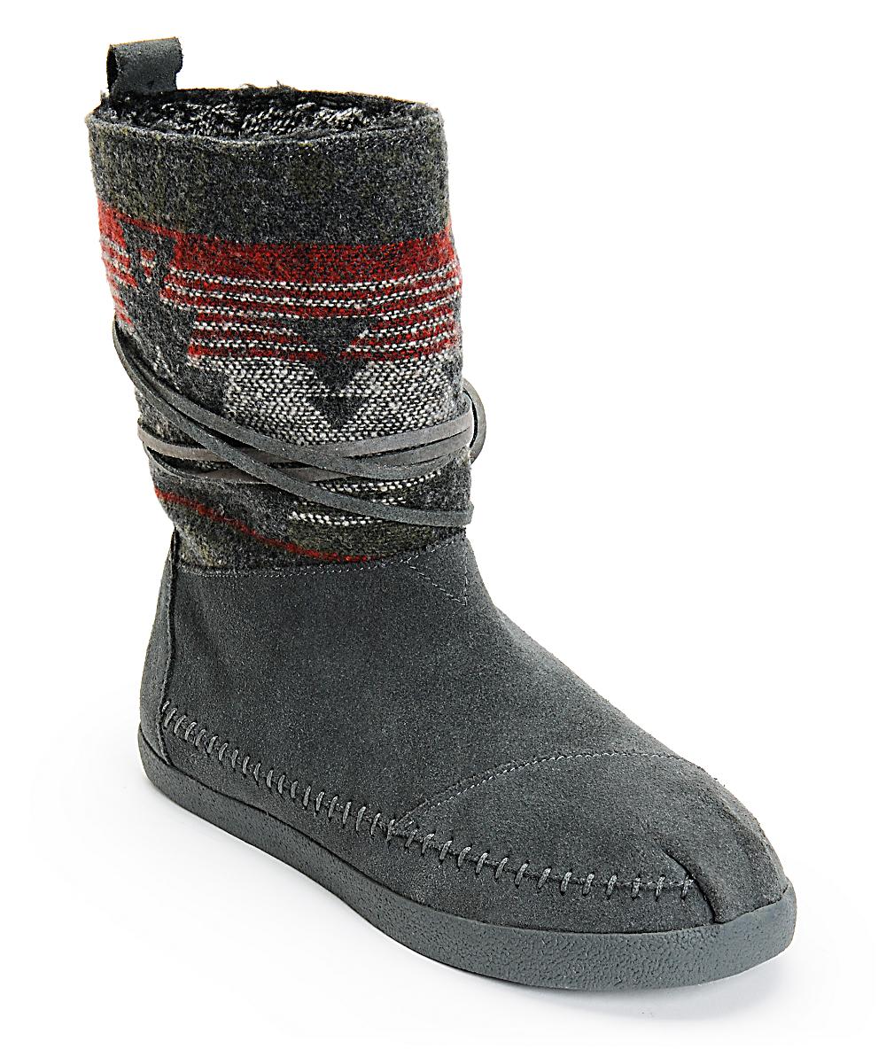 6c2af9e4a Toms Grey Suede Jacquard Womens Nepal Boots | Zumiez