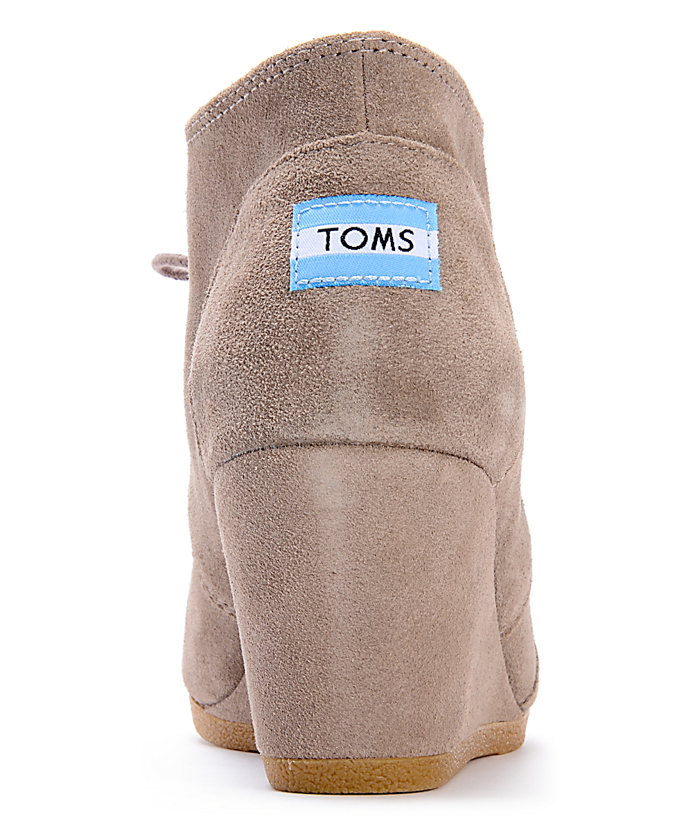 c3fbd9392a38c Toms Taupe Suede Desert Wedge Shoes