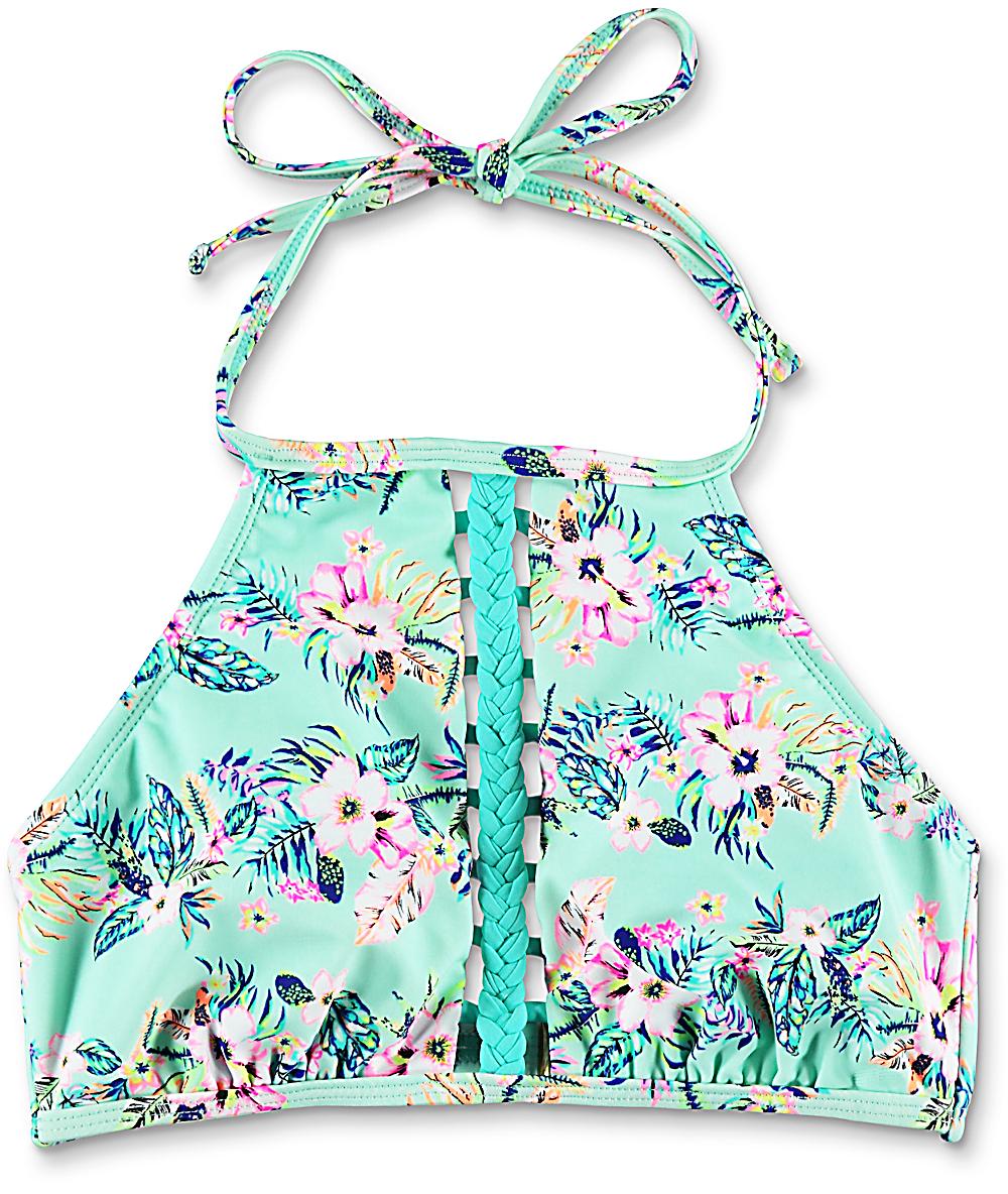 2b98be8c6ce Trillium Fresh Melody Floral Mint High Neck Bikini Top   Zumiez