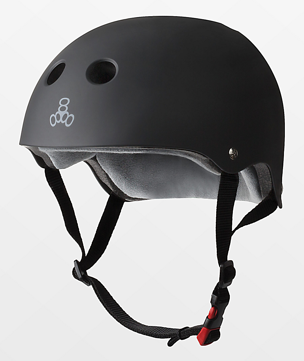 Triple Eight Certified Sweatsaver Black Rubber Multi-Sport Helmet | Zumiez.ca