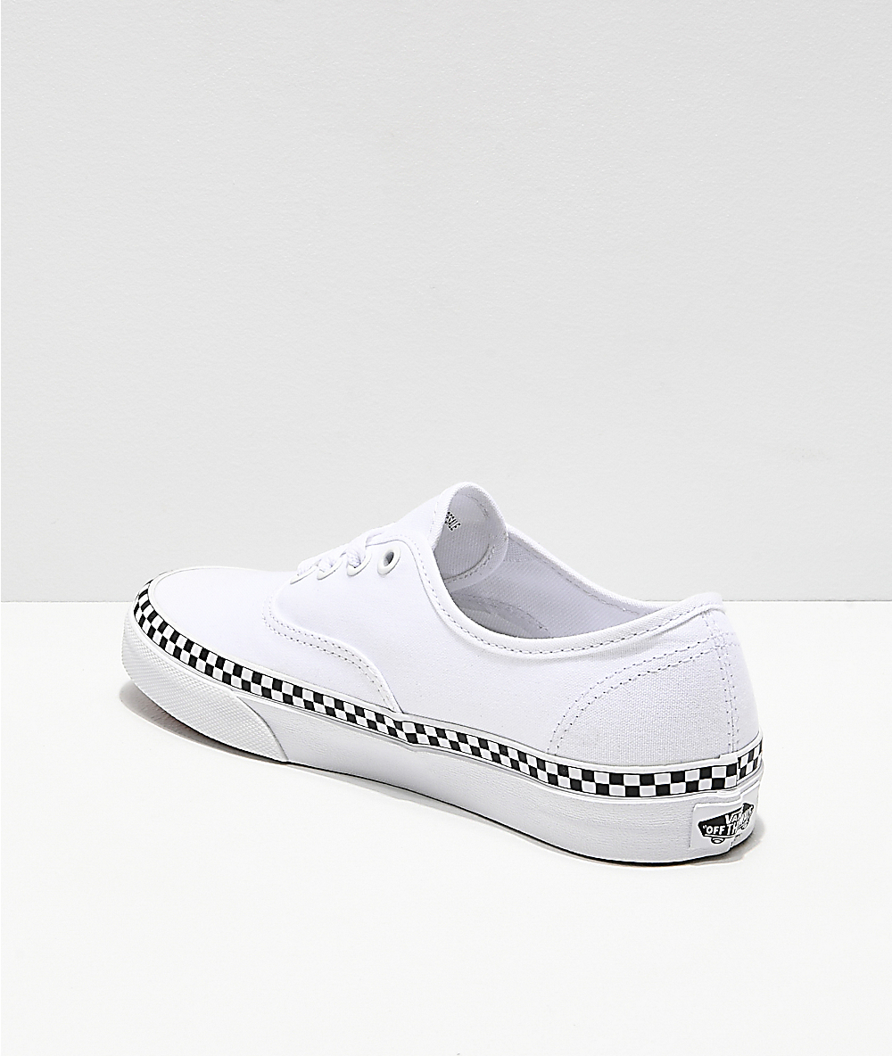 Vans Authentic Checkerboard Foxing White Skate Shoes