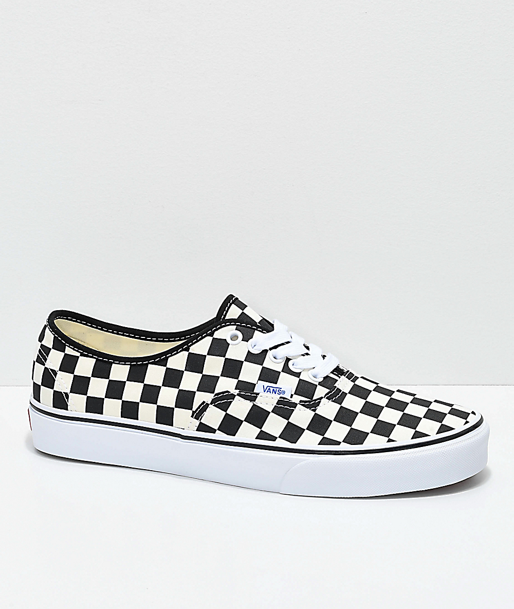 black and white checkered vans with laces