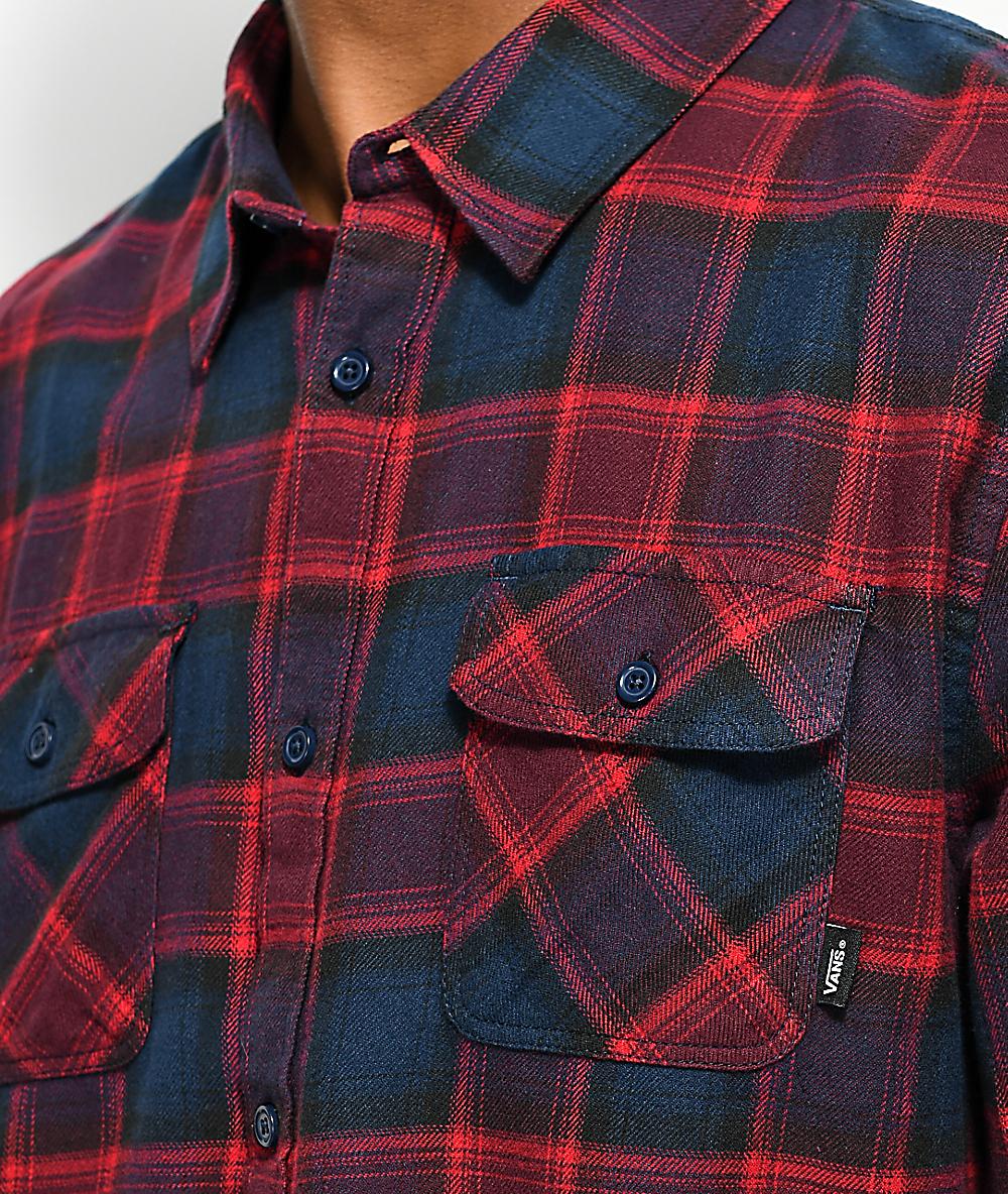 7cb1447f Vans Banfield Midnight Navy & Light Burgundy Flannel Shirt