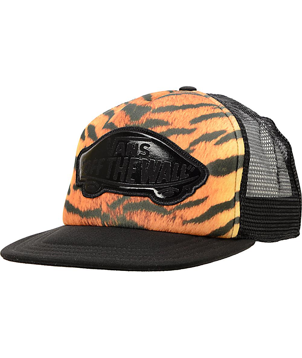 047549b82 Vans Beach Girl Tiger Print Trucker Hat