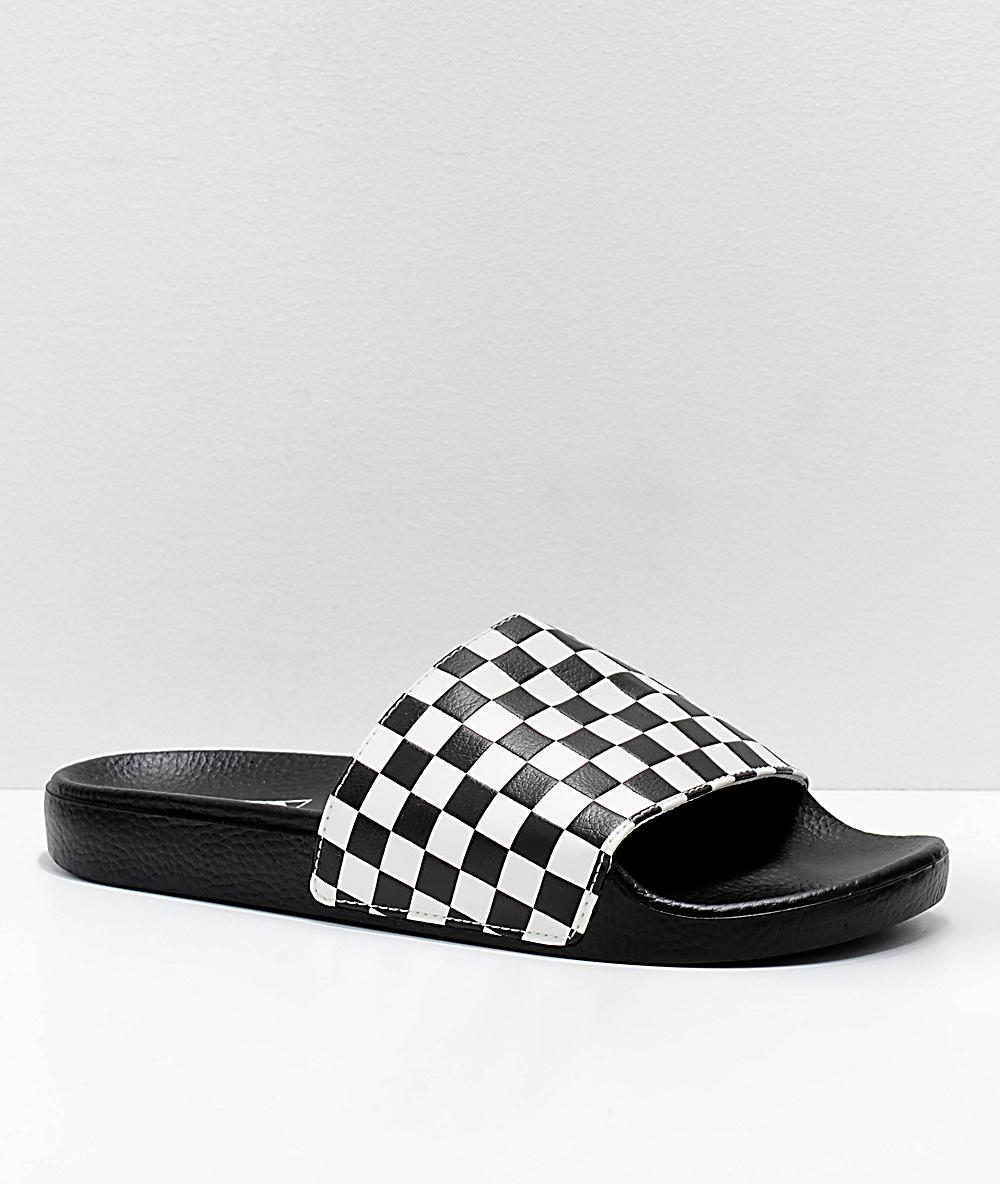 9789ea5edbabc Vans Black & White Checkerboard Slide On Sandals