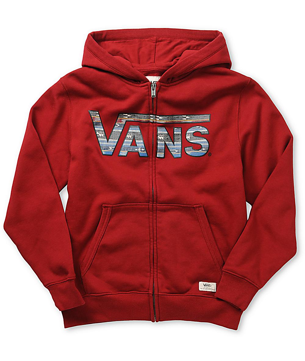 vans red zip hoodie