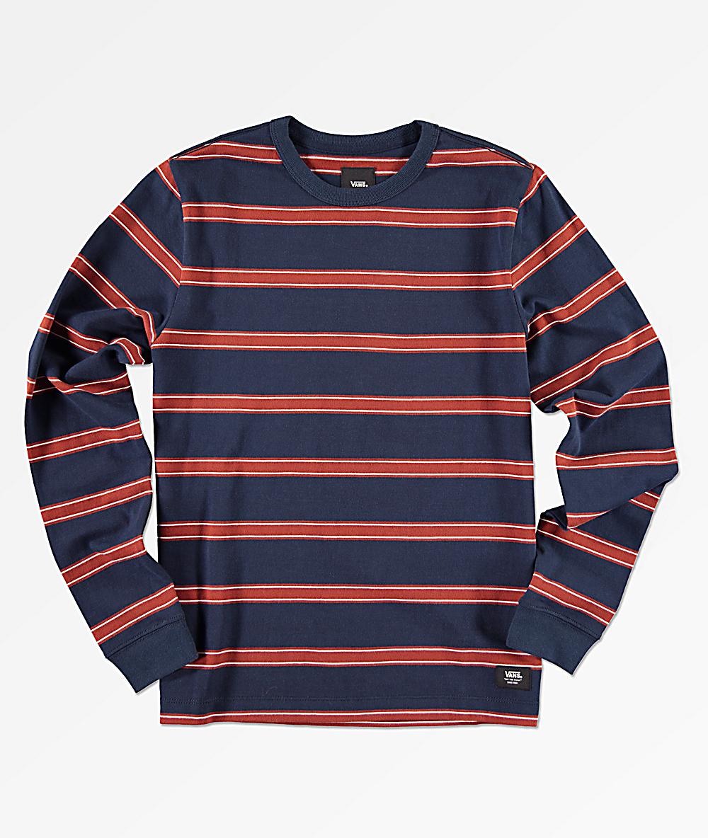 f9e49704 Vans Boys Watson Navy & Red Striped Long Sleeve T-Shirt