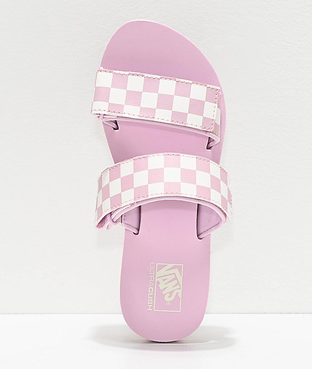 fdffb313e1 Vans Cayucas Lilac Checkerboard 2 Strap Slide Sandals