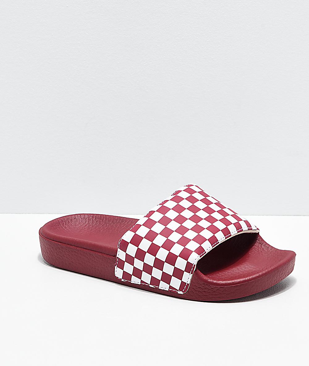 vans sandals red