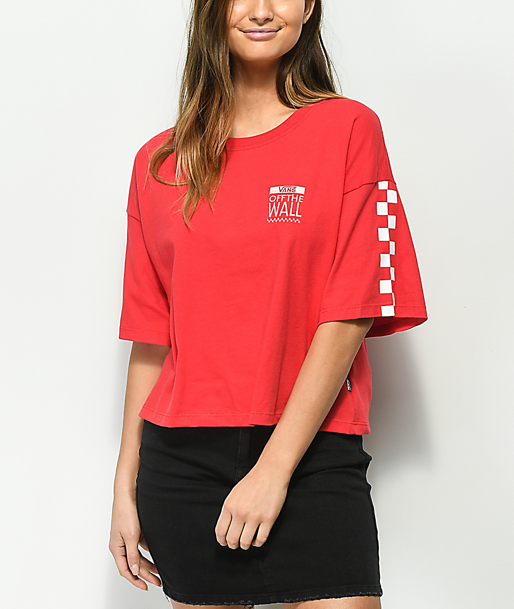 d89580b942 Vans Checkerboard Red & White Crop T-Shirt