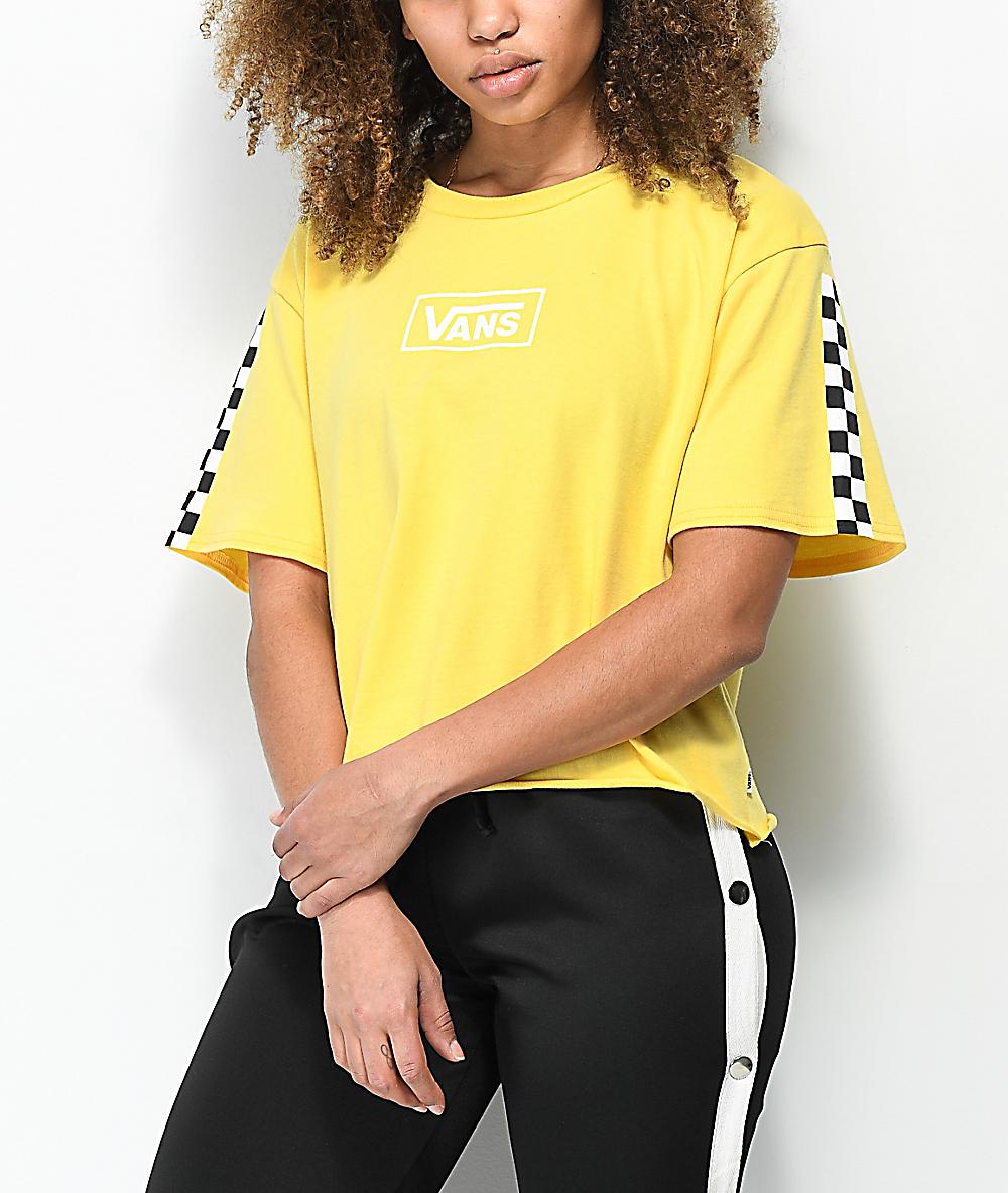 77d05bb468c8 Vans Checkerboard Yellow Crop T-Shirt | Zumiez