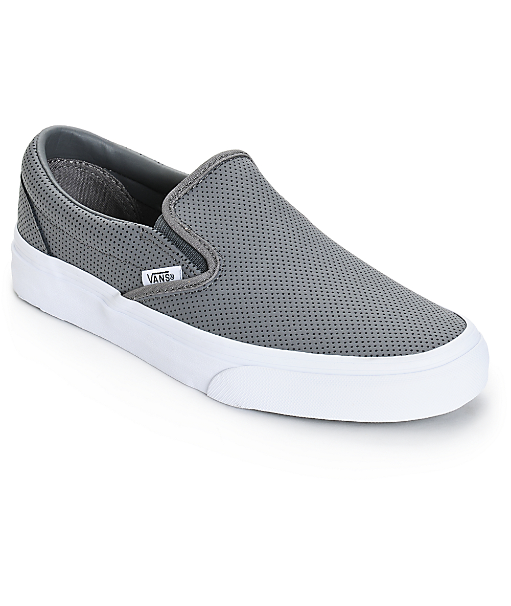 Grey Vans Classic Leather Shoes Perforated On Slip drsxhtQC