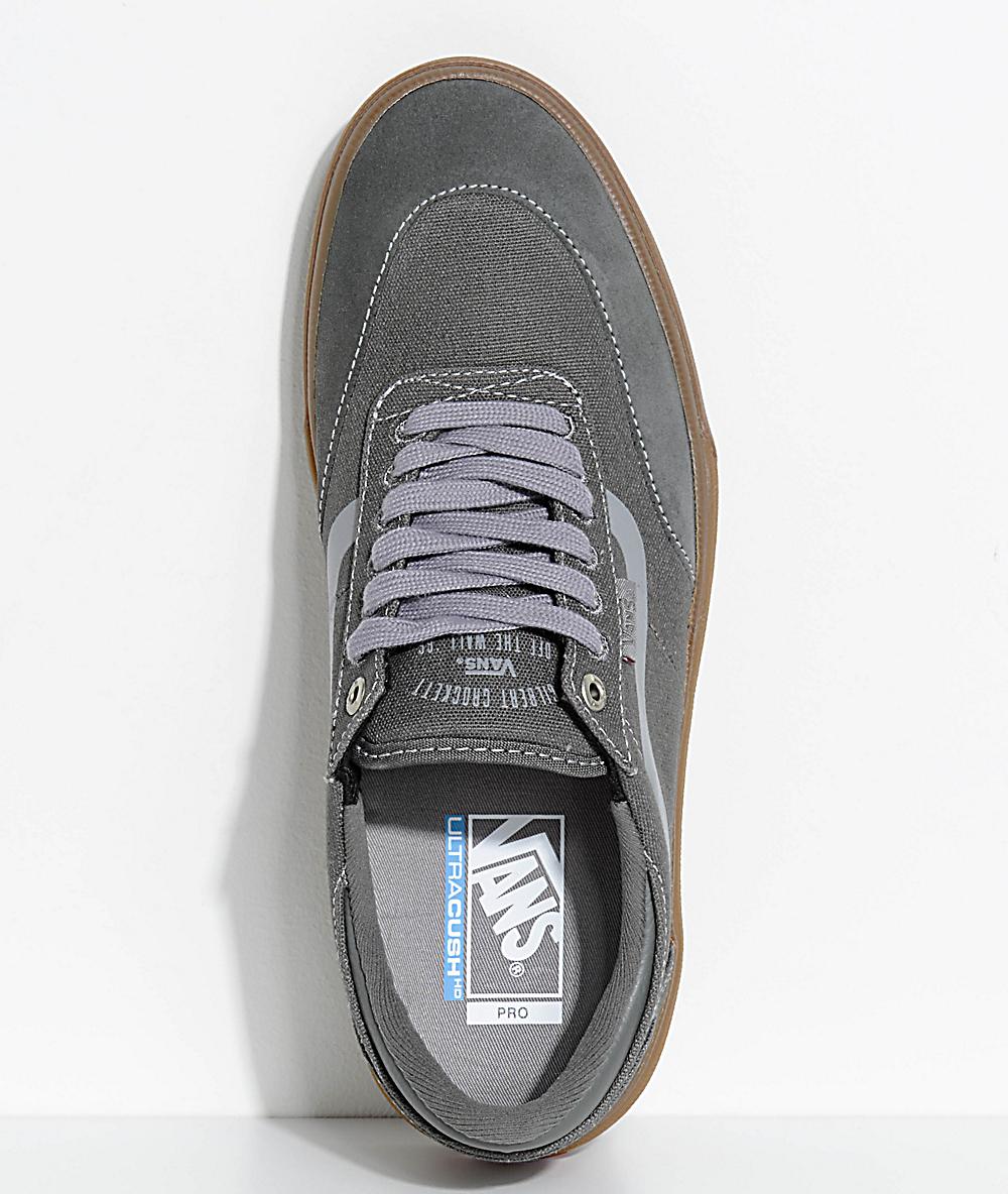 vans crockett 2 gunmetal & gum skate chaussures