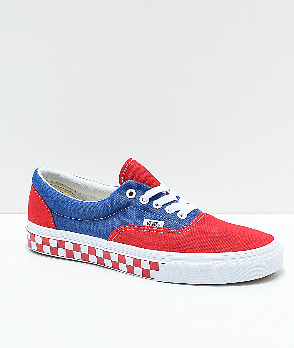 Vans Era BMX Red, White and Blue Checkerboard Skate Shoes