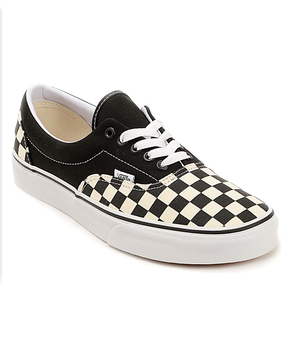 Vans Era Checkerboard Black & Natural Skate Shoes | Zumiez