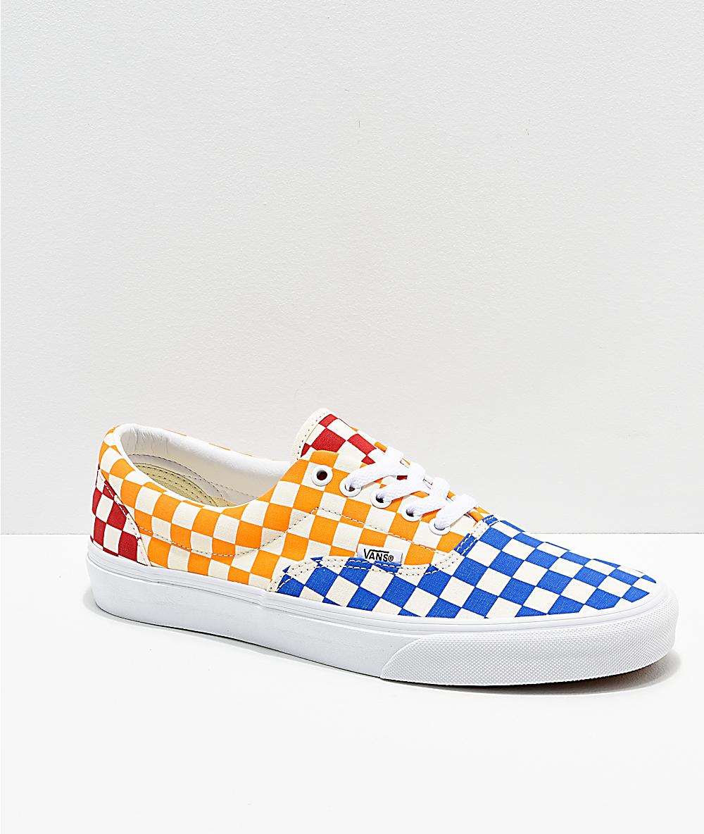 checkerboard vans yellow