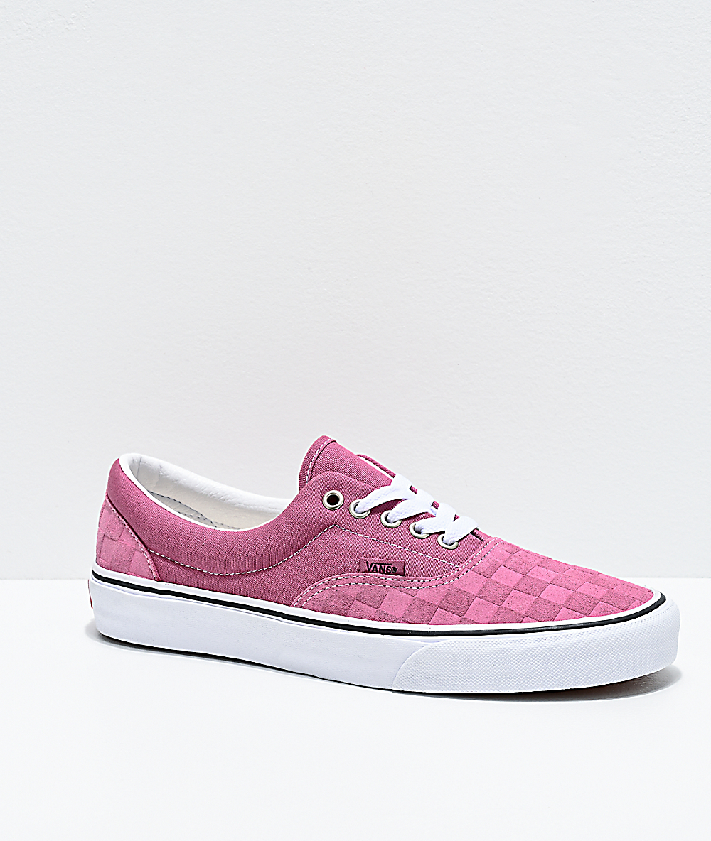 Vans Era Deboss Rose & White Checkerboard Skate Shoes
