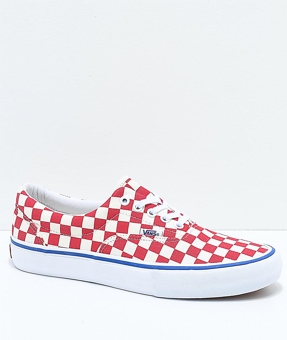 Vans Era Pro Rococo zapatos de skate de cuadros en rojo y blanco