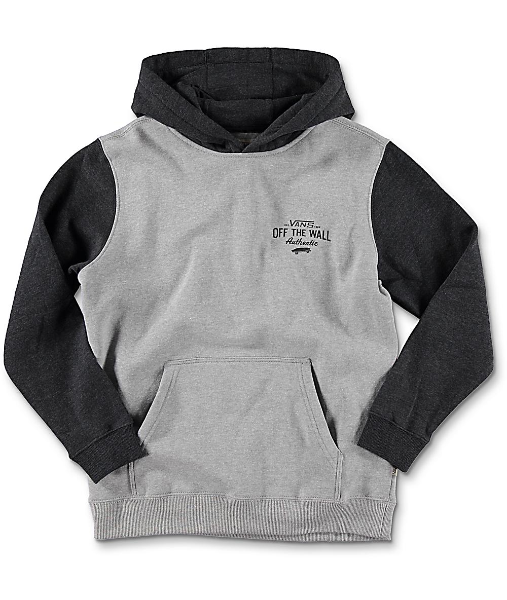 556b88994 Vans Fairton Boys Cement & Black Heather Hoodie   Zumiez