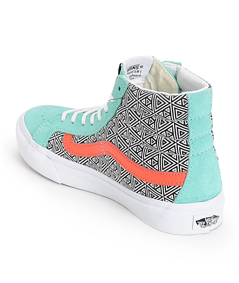 Vans Girls Sk8 Hi Slim Geo Cockatoo & Hot Coral Skate Shoess