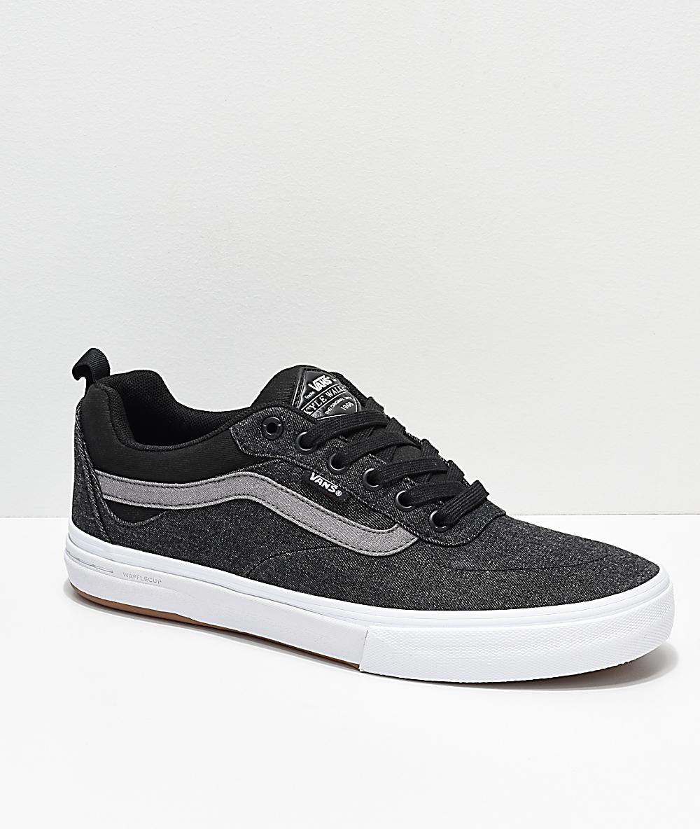 bc2bab90edaec Vans Kyle Walker Pro Black, Pewter & White Denim Skate Shoes | Zumiez
