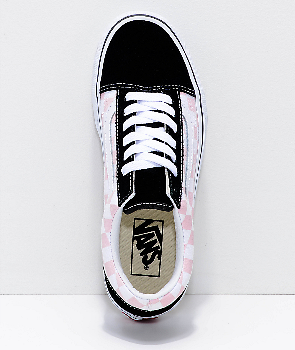 Vans Old Skool Black, Pink & White Checkered Platform Shoes