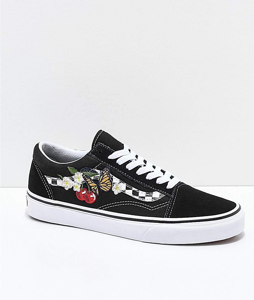 ab339cb7c452c Vans Old Skool Black & White Checkered Floral Skate Shoes