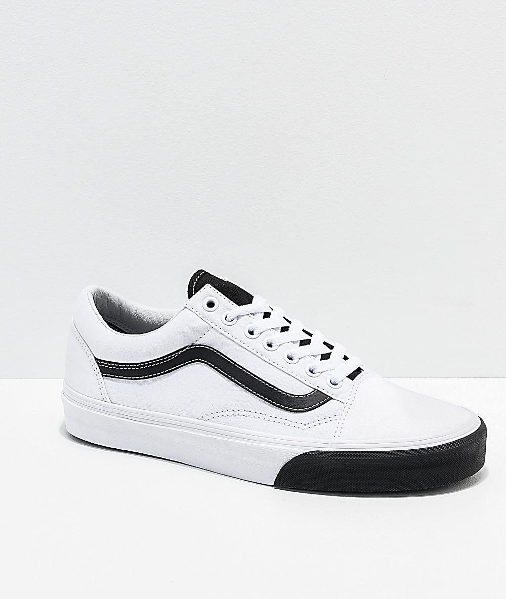 71f513daa Vans Old Skool Color Block Black & White Skate Shoes | Zumiez