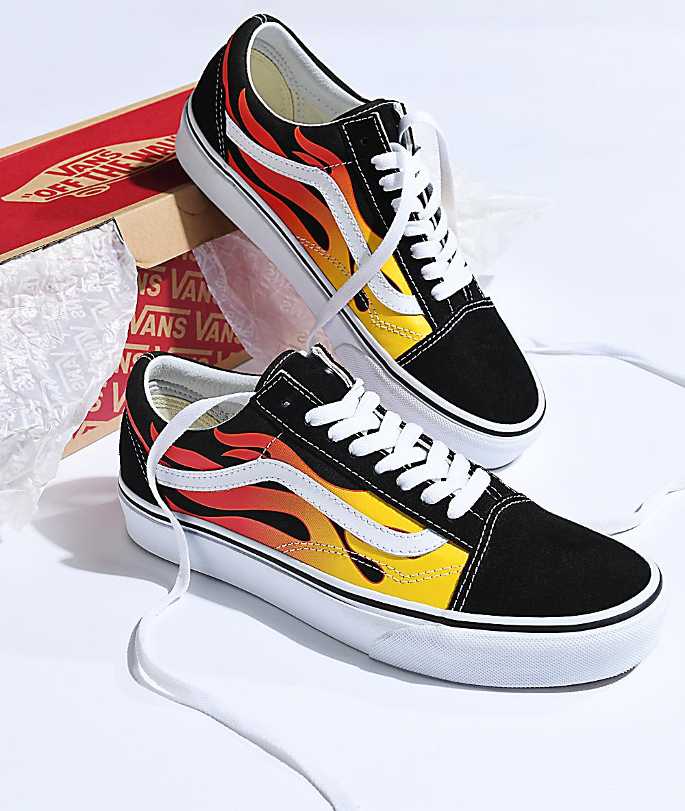b4e6ae2b Vans Old Skool Flame Black & White Skate Shoes