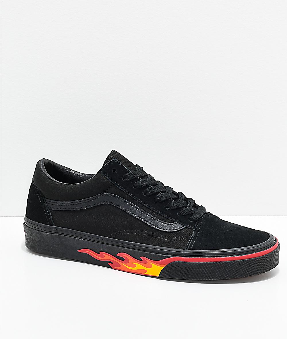 32a76e75 Vans Old Skool Flame Wall Black & Black Shoes