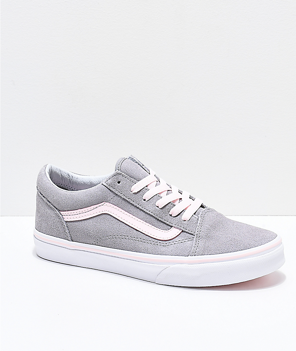 Vans Old Skool Grey & Light Pink Skate Shoes