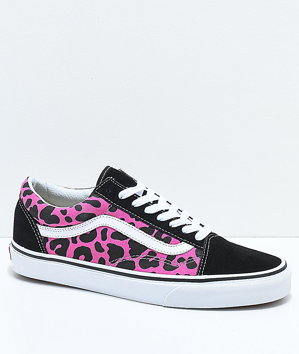 Vans Old Skool Pink & Black Leopard Print Skate Shoes