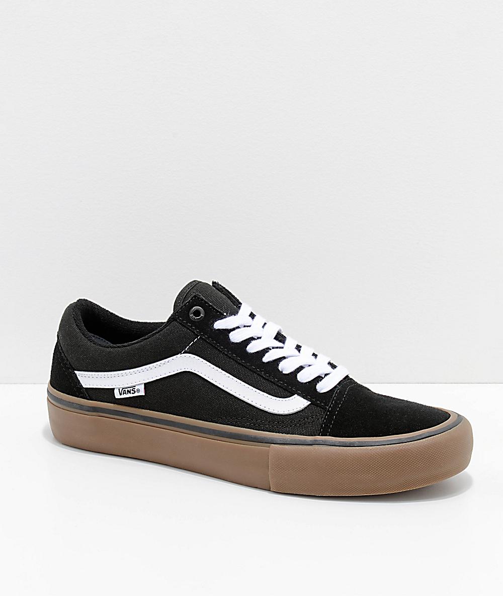 sanar exagerar espacio  Vans Old Skool Pro Black, White & Gum Skate Shoes | Zumiez.ca