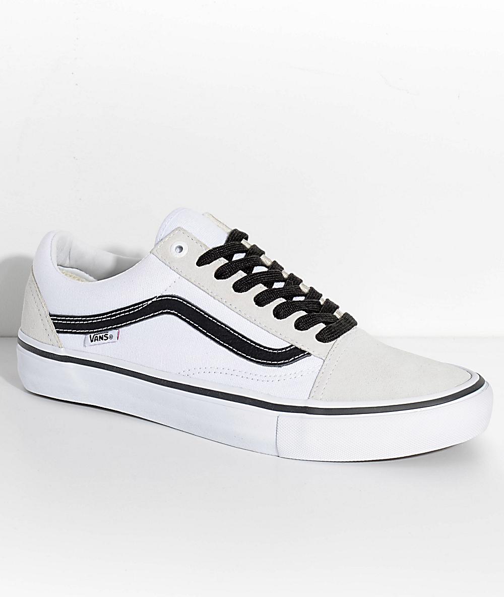 b15db0d3c4 Vans Old Skool Pro Off White, White & Black Skate Shoes | Zumiez