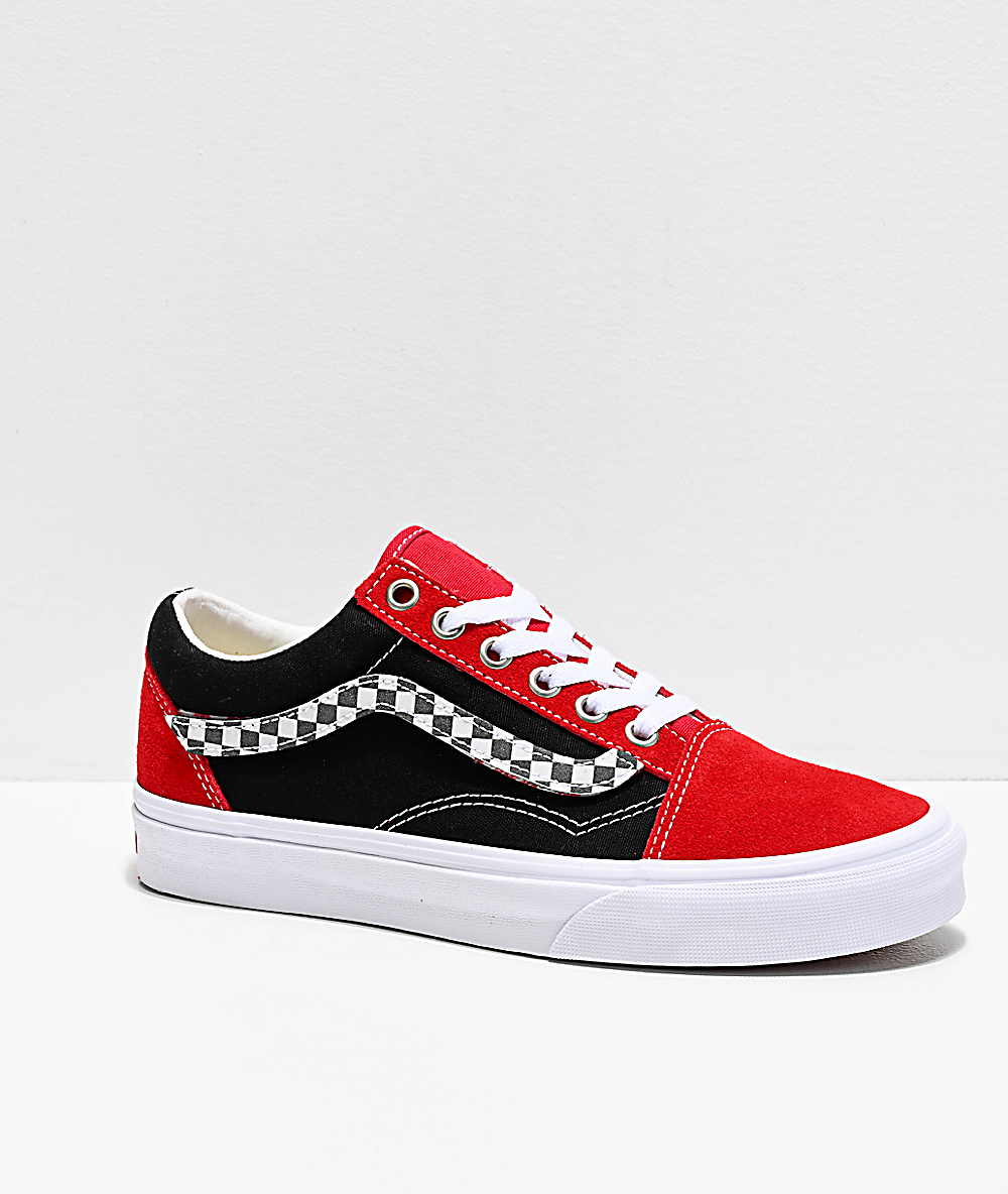 Vans Old Skool Sidestripe V Red, Black \u0026 White Skate Shoes