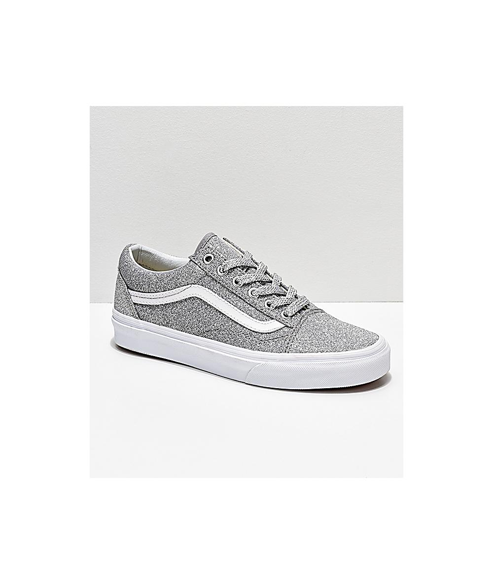 9bf877e1676b Vans Old Skool Silver & White Glitter Skate Shoes | Zumiez