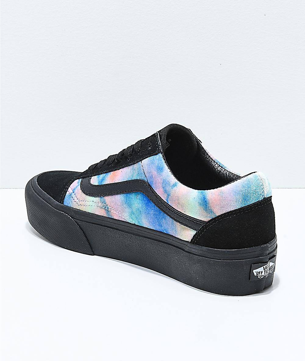 8968443af1 Vans Old Skool Tie Dye & Black Velvet Platform Skate Shoes