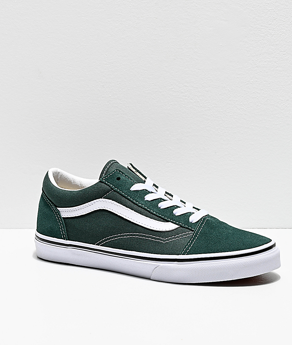 white and green vans old skool