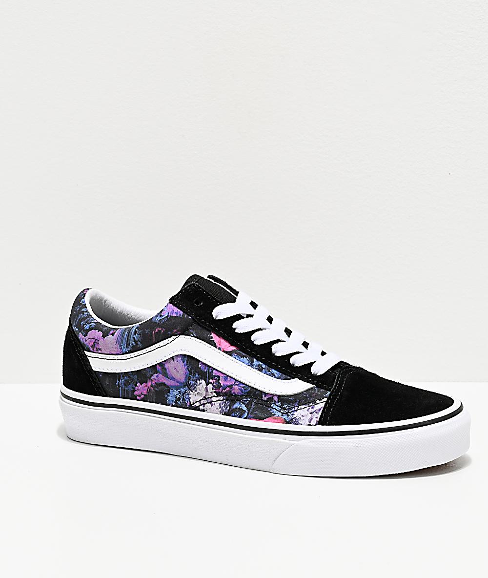 Vans Old Skool Warped Floral & Black Skate Shoes