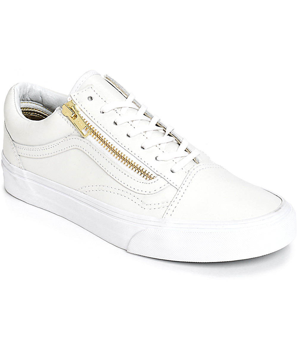 vans old skool zip white gold