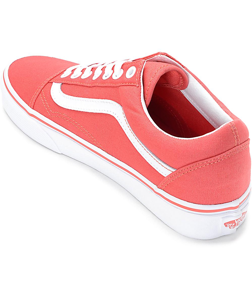Vans Old Skool zapatos en color coral y blanco para mujeres