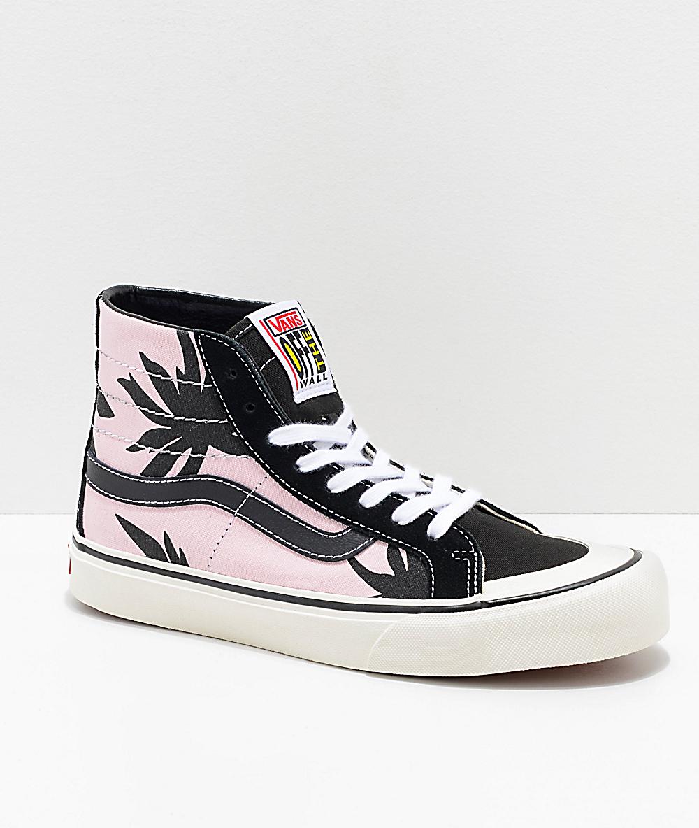 2647fd2ab Vans Sk8-Hi 138 Summer Leaf Decon Pink & Black Skate Shoes   Zumiez