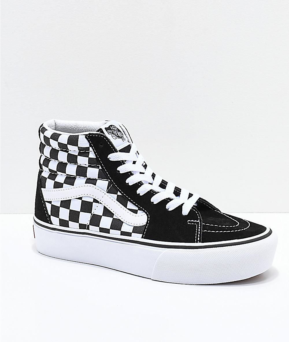 33cdf3765d Vans Sk8-Hi Black & White Checkerboard Platform Shoes