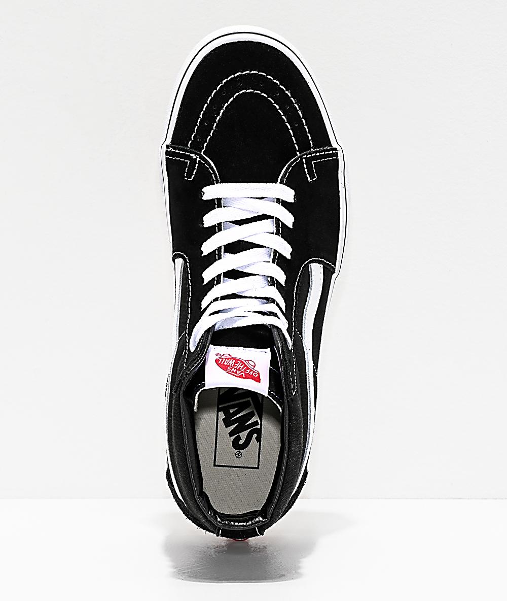 Vans Sk8 Hi Black & White Skate Shoes