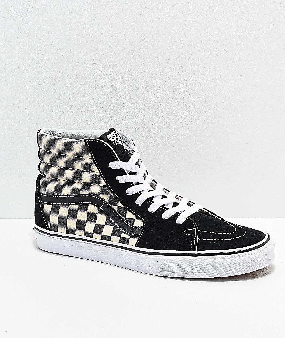 checkered high top vans