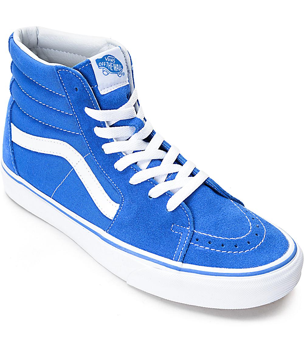 35a314ccdde93 Vans Sk8-Hi Imperial Blue & White Skate Shoes | Zumiez