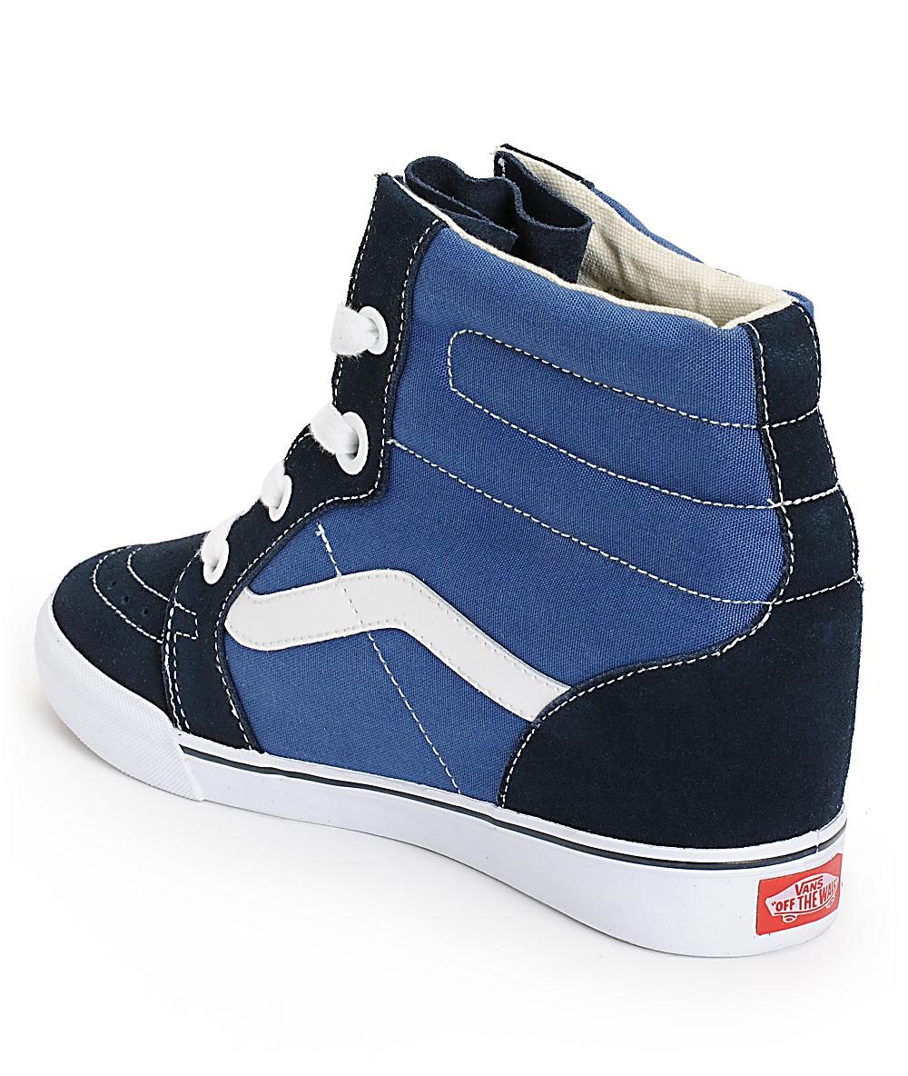 Vans Sk8 Hi Navy & True White Wedge Shoes