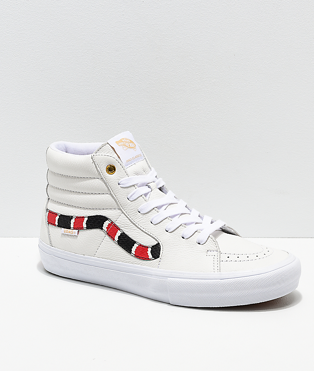 newest 5fcb4 e6d8e Vans Sk8-Hi Pro Coral Snake   White Leather Skate Shoes   Zumiez
