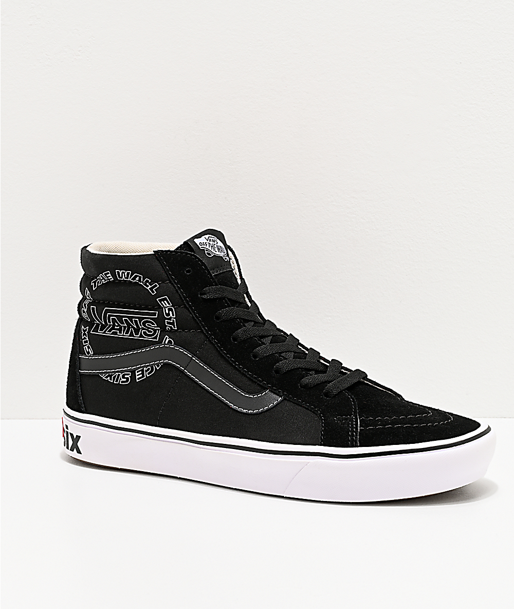 Imperativo cura Armstrong  Vans Sk8-Hi Reissue ComfyCush Distort Black & White Skate Shoes ...