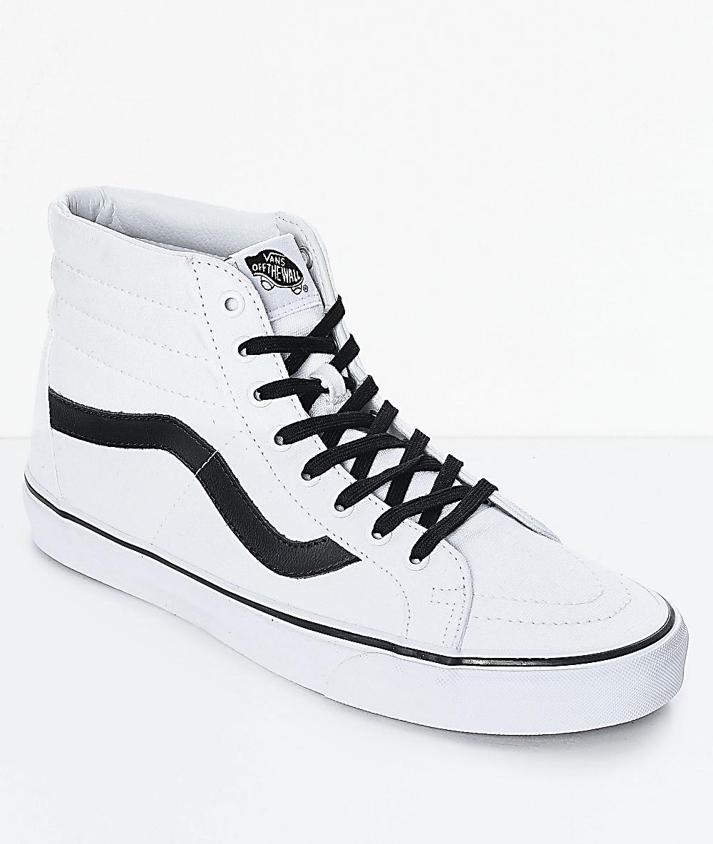 Vans Sk8-Hi Reissue True White & Black Skate Shoes